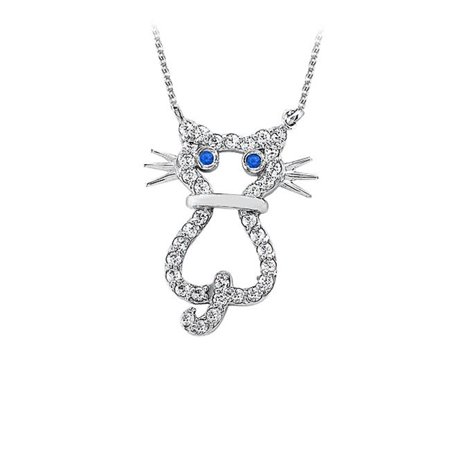 8cf4bdcb17 Fine Jewelry Vault UBPD3062W14DS Conflict Free Diamond Cat Pendant in 14K  White Gold with Free 16 in. Chain Unique Design