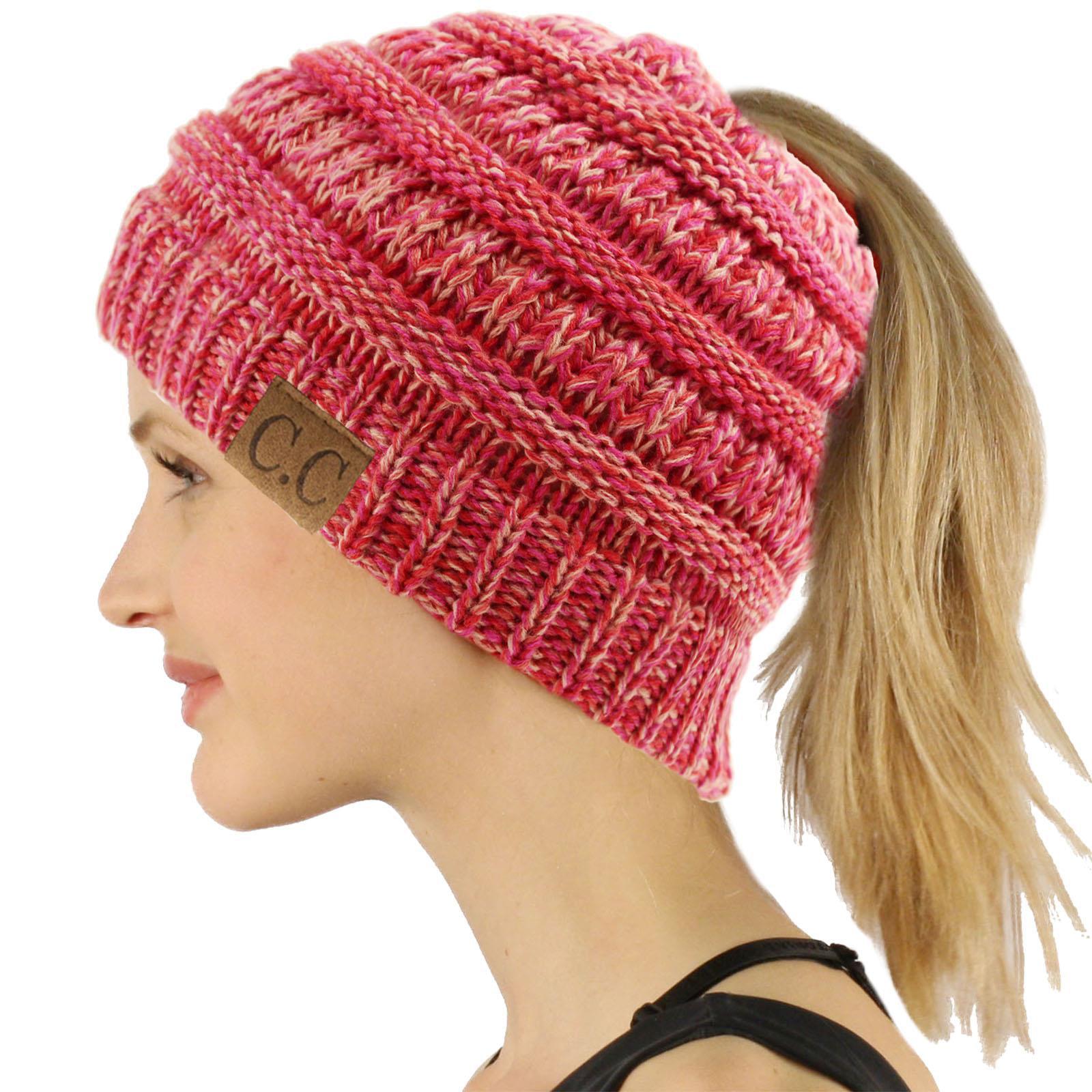 fbc4cab7f7a SK Hat Shop - CC Ponytail Messy Bun BeanieTail Soft Winter Knit Stretchy  Beanie Hat Cap - Walmart.com