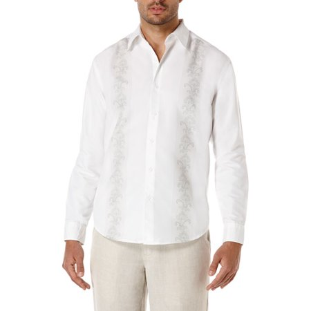 Caf Luna Fashion Men's Print Panel Long Sleeve Shirt