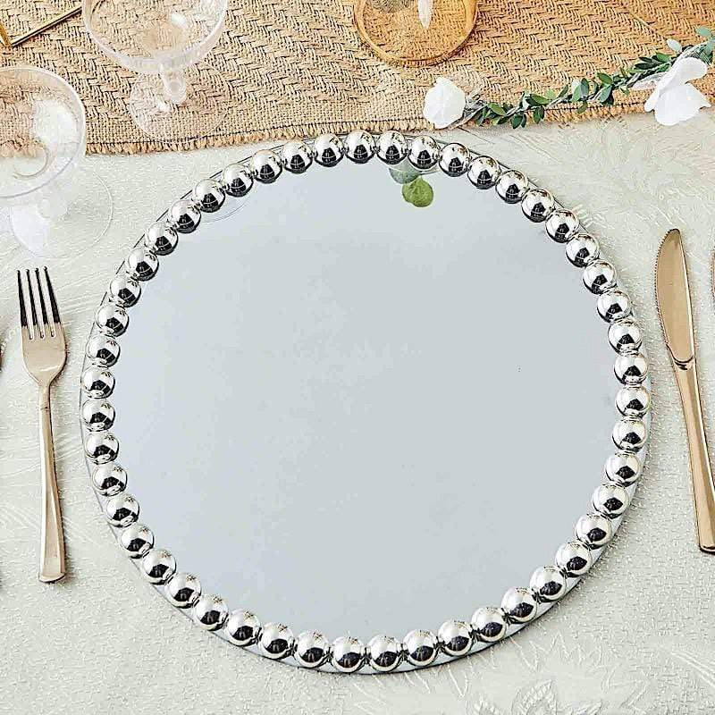 Round Mirror Glass Charger Plates, Mirrored Charger Plates Bulk