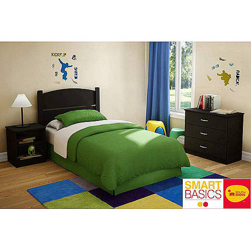 3-Pc Twin Bedroom Set in Pure Black