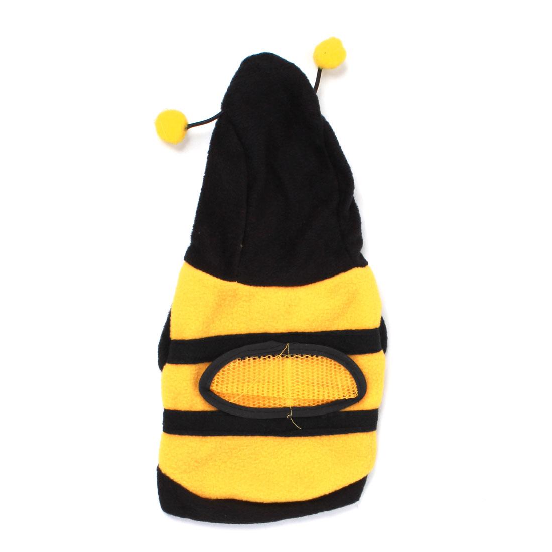 Unique Bargains Press Stud Button Bee Shaped Pet Dog Cat Hooded Clothes Coat Black Yellow XXS