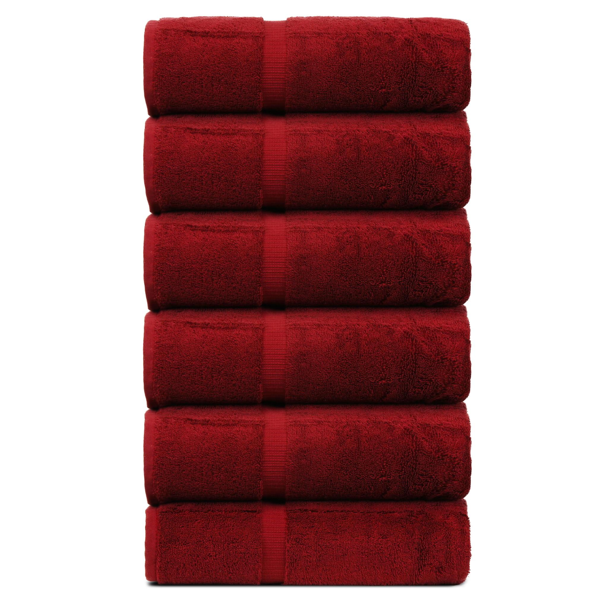 Luxury Hotel & Spa Towel Turkish Cotton Washcloths - Cranberry - Dobby Border - Set of 6