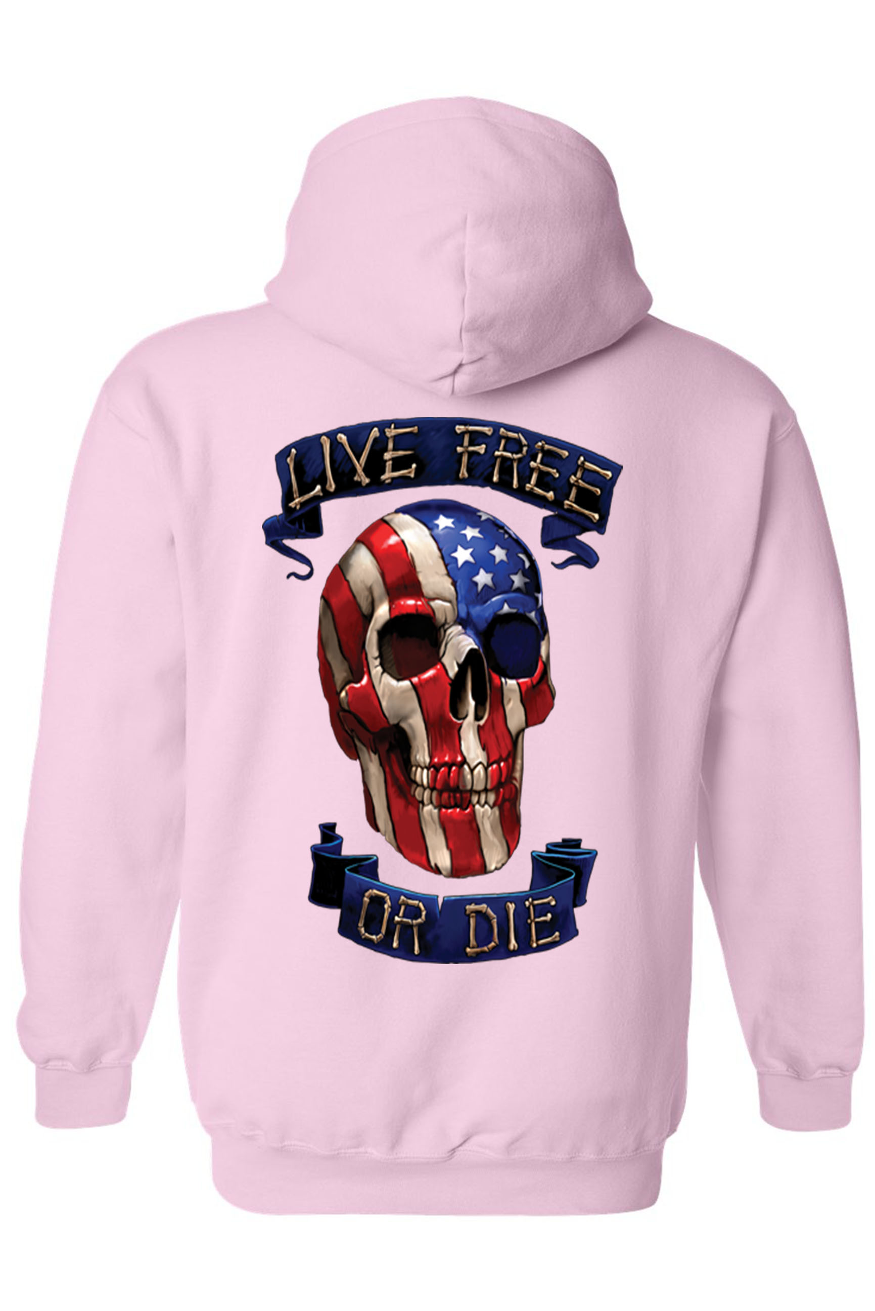 Unisex Zip Up Hoodie USA Flag Skull Live Free or Die