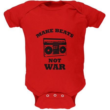 Toddler Boombox (Make Beats Not War Boombox Red Soft Baby One Piece )