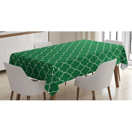 quatrefoil decor tablecloth four leaf clover on moroccan trellis mosaic digital print house cafe decor