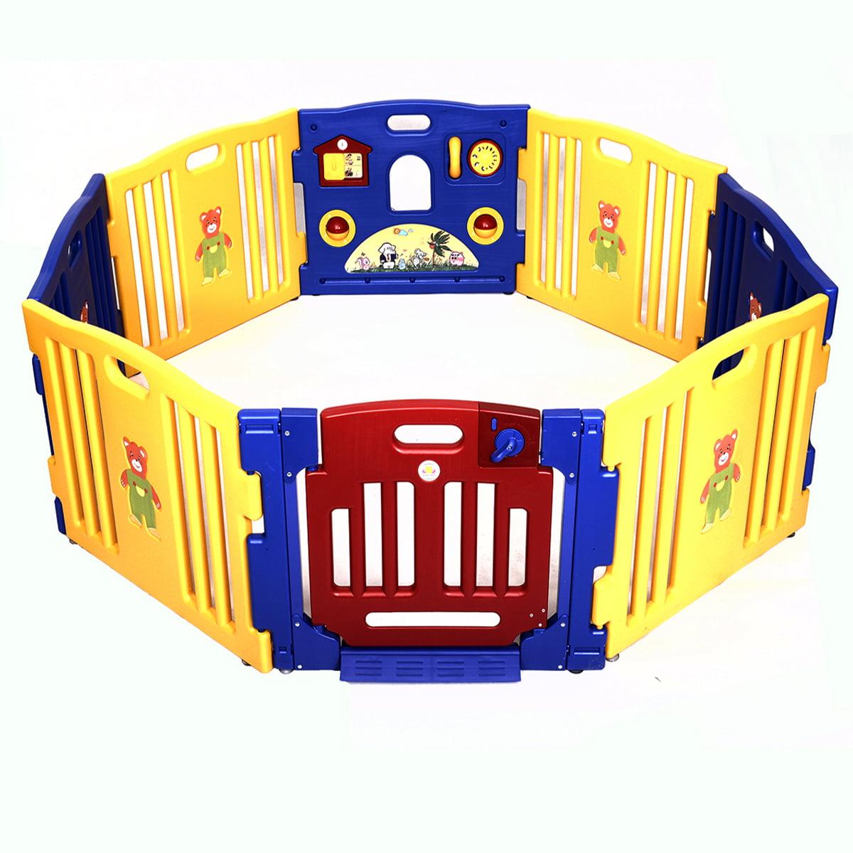 Costway Baby Playpen Kids 8 Panel Safety Play Center Yard Home Indoor Outdoor Pen