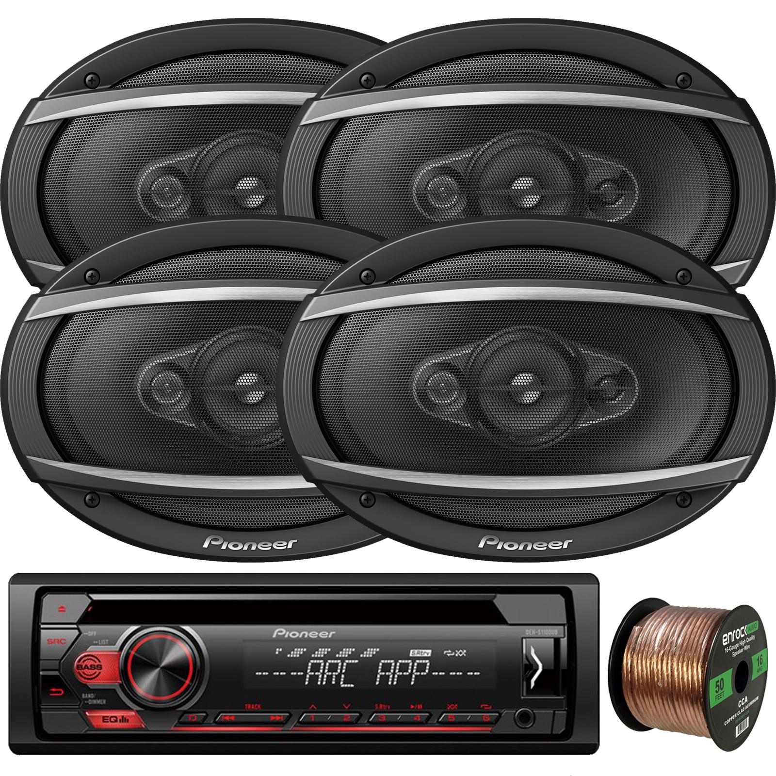 "Pioneer DEH-S1100UB Single-DIN CD Player AM/FM Car Stereo Receiver, 4 x Pioneer TS-A6960F 6x9"" 4-Way 450W Car Audio Speakers, Enrock Audio 16-Gauge 50Ft. CCA Speaker Wire"