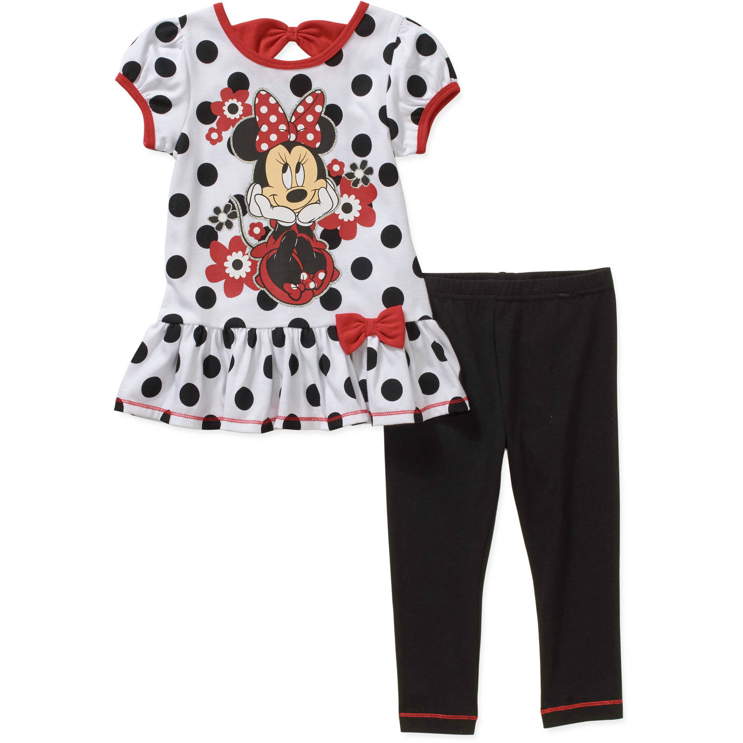 Disney Minnie Mouse Toddler Girls' Peplum Tunic and Leggings Outfit Set