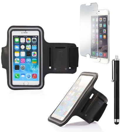 Premium Full Running Jogging Sports Gym Armband Case Cover Holder for Apple iPhone 6 with Free Tempered Glass Screen Guard