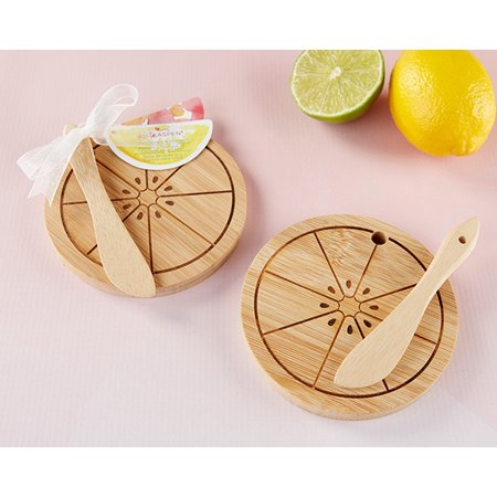 Citrus Cheeseboard & Spreader (12 Sets) | Hostess Gift, Guest Gift, Party Souvenir, Party Favor or Decorations for Weddings, Bridal Showers, Baby Showers & More (Wedding Guest Gift)