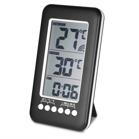 LCD ℃/℉ Digital Wireless Indoor/Outdoor Thermometer Clock Temperature Meter With Transmitter Humidity Temperature Transmitter