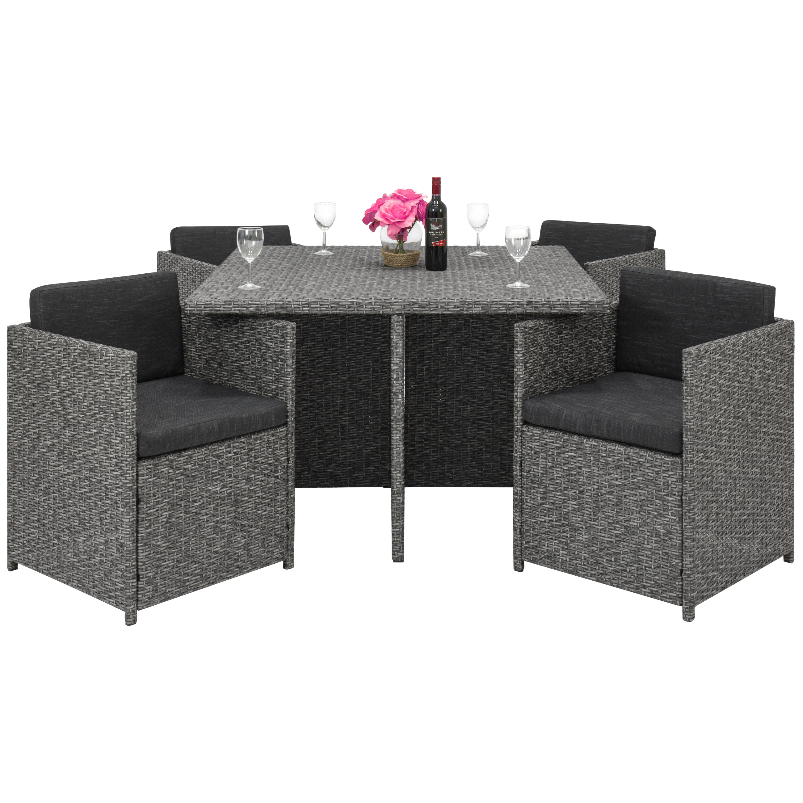 Best Choice Products Space Saving Outdoor Patio Furniture 5-Piece Wicker Dining Room Set- Dark Gray by Best Choice Products