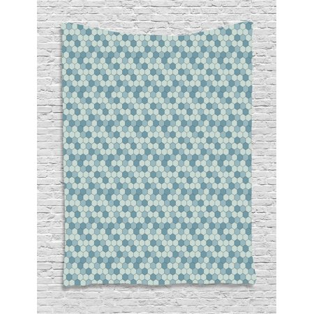 Abstract Tapestry, Geometrical Design Hexagon Patterns Vintage Patchwork Like Old Fashion, Wall Hanging for Bedroom Living Room Dorm Decor, Pale Teal Blue Grey, by Ambesonne ()