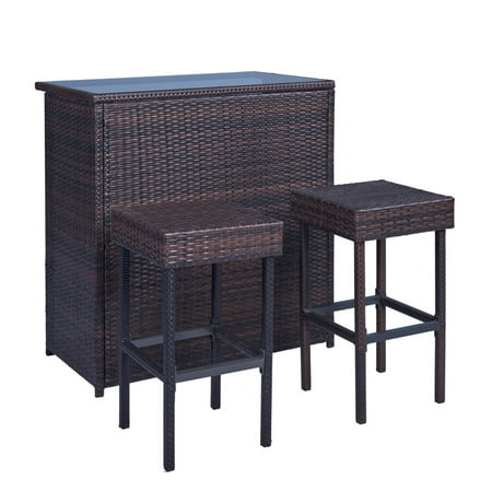 Palm Springs Wicker Style 3 Piece Outdoor Bar Set with Stools - High Bar Table with Glass Top with 2 (Style 3 Spring)