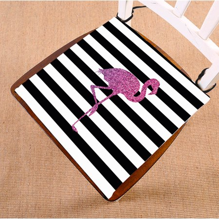 YKCG Glitter Pink Flamingo Black and White Stripes Seat Cushion Chair Cushion Floor Cushion Twin Sides 16x16 inches ()