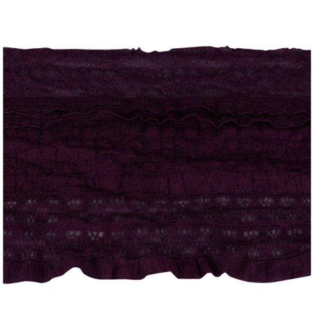 Porcelynne Eggplant Purple Stretch Ruffled Lace Trim - 5 1/2 inches wide - 5 Yards