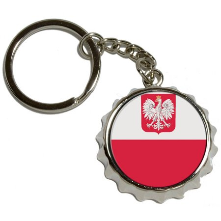 Nickel Polished Ring (Poland Polish Flag, Nickel Plated Metal Popcap Bottle Opener Keychain Key Ring)