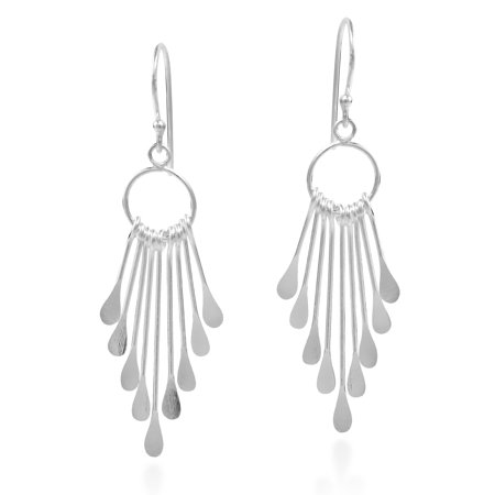 Sticks Rods Chandelier Tassel Style .925 Sterling Silver Dangle Earrings
