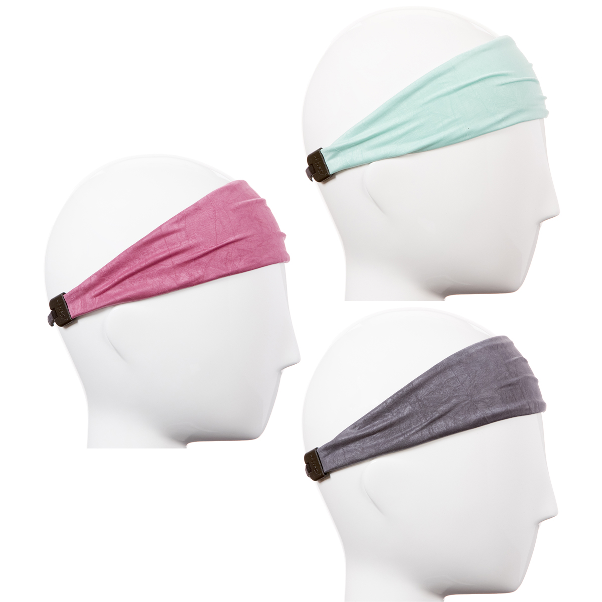 Hipsy Xflex Adjustable & Stretchy Sweat Sports Headbands for Women Gift Pack (Crushed Rose/Grey/Mint Xflex 3pk)