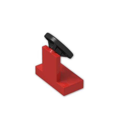 Red Brick Station (Brick Building Sets Original LEGO® Parts: Vehicle, Steering Stand 1 x 2 with Black Steering Wheel #3829C01 (Pack of 24) (Red))