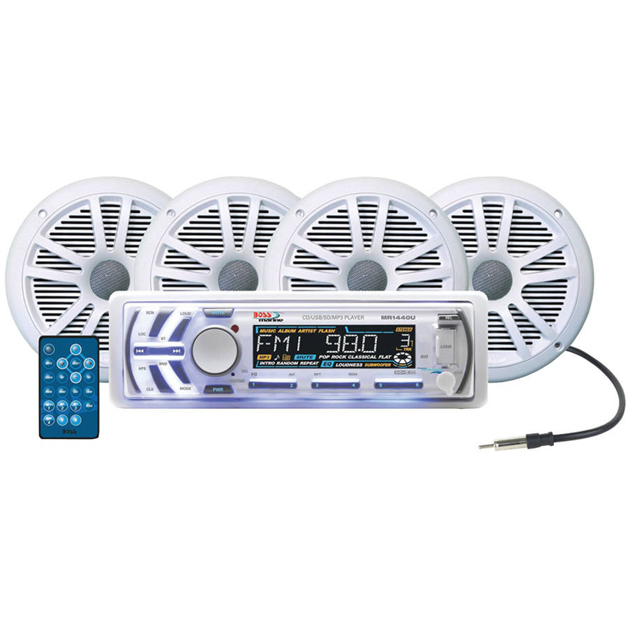 Boss Mck1440w.64 Marine Single-din In-dash Cd Receiver With 4 Speakers