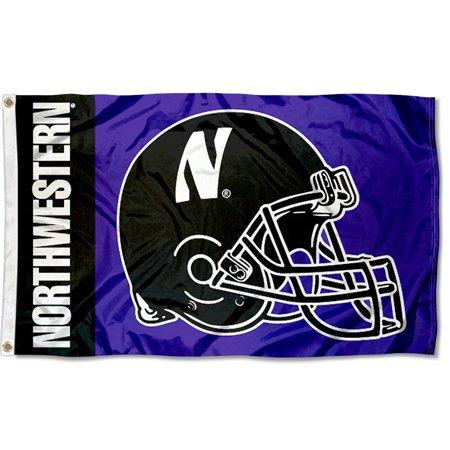 - Northwestern Wildcats Football Helmet 3' x 5' Pole Flag