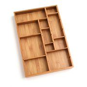 "Lipper International 8397 Bamboo Wood Adjustable Drawer Organizer with 6 Removable Dividers, 12"" x 17-1/2"" x 1-7/8"""