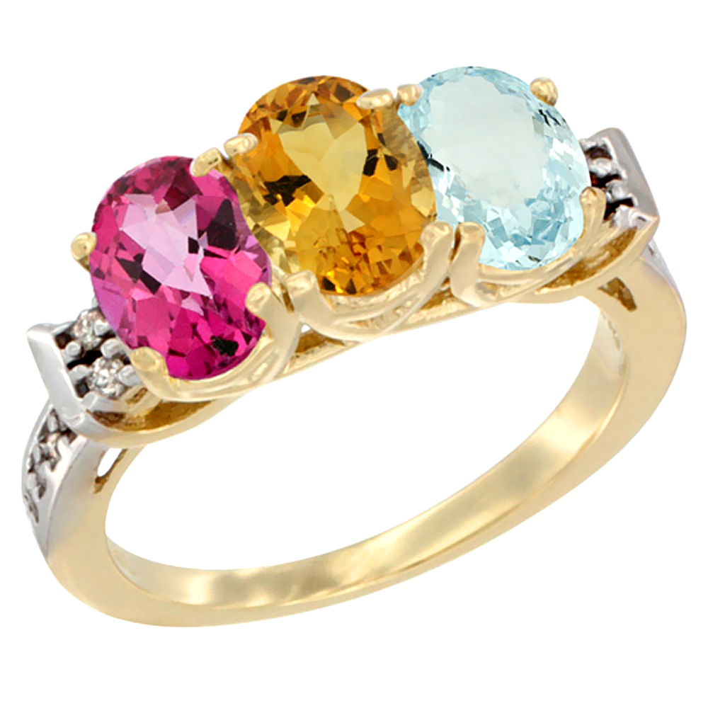 14K Yellow Gold Natural Pink Topaz, Citrine & Aquamarine Ring 3-Stone 7x5 mm Oval Diamond Accent, sizes 5 10 by WorldJewels