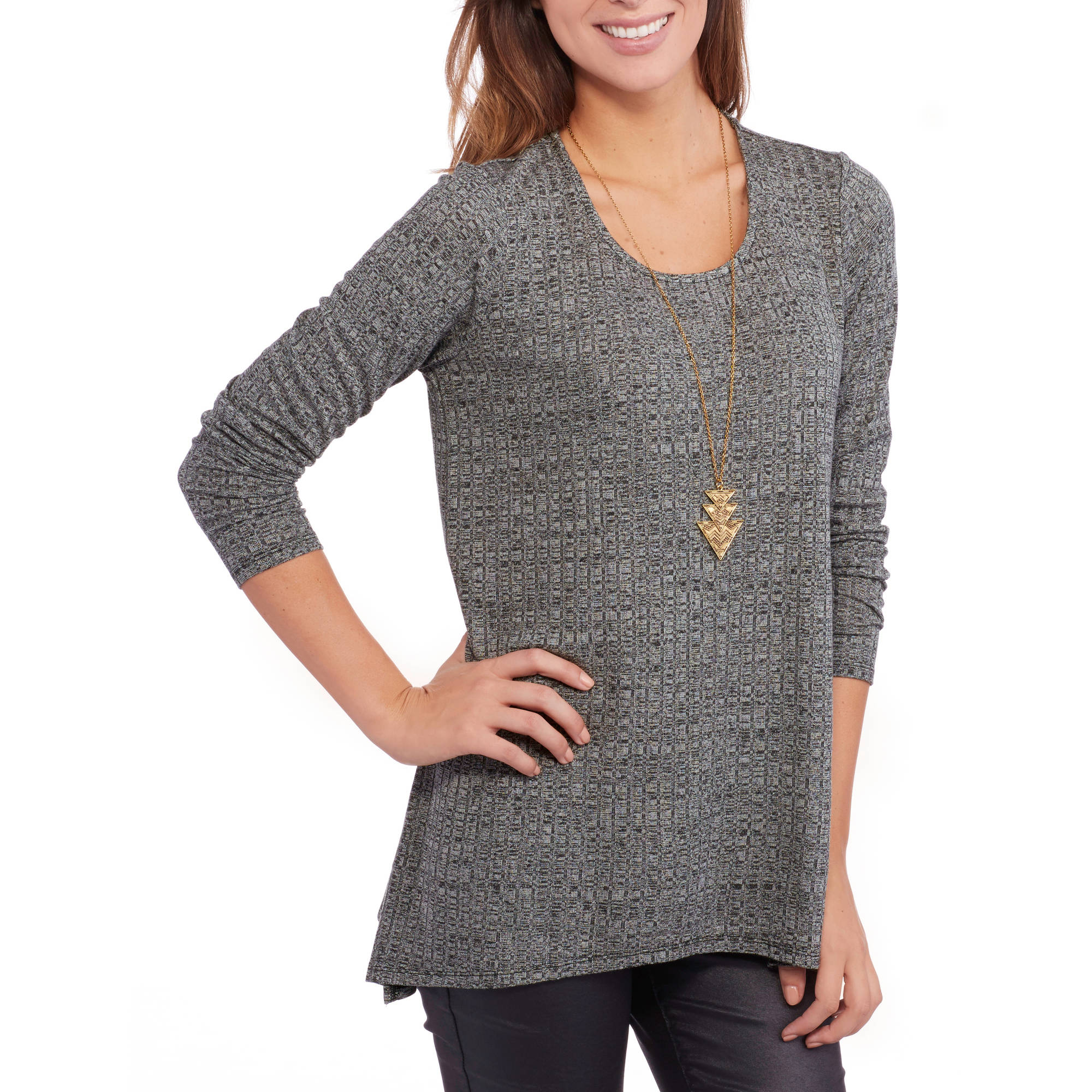 Women's 2-Fer Solid Long Sleeve T-Shirt with Necklace