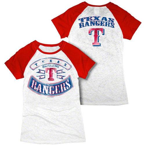 MLB - Texas Rangers White Women's Crewneck Burnout Raglan T-Shirt
