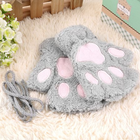Sofe Women Winter Claw Gloves Fluffy Bear Paw Mittens Lady Half Finger Gloves - image 7 of 16