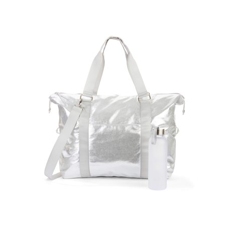 No Boundaries Silver Metallic Gym Bag with Waterbottle