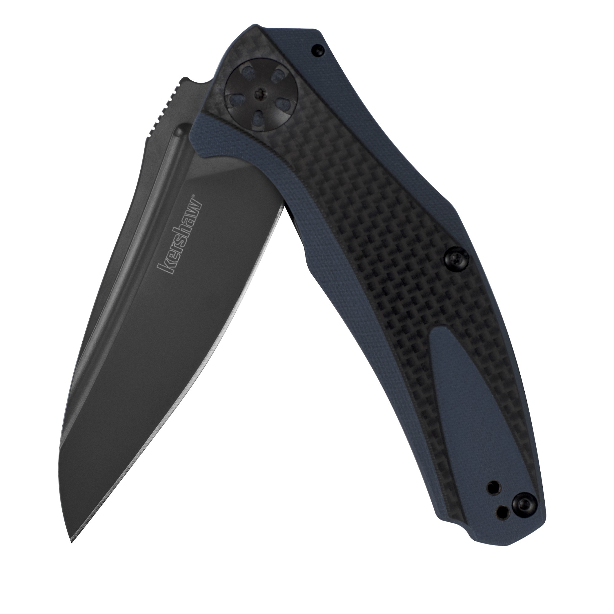 Kershaw Natrix-Carbon Fiber Pocket Knife (7007CF); 3.25 In. 8Cr13MoV Titanium Carbo-Nitride Coated Blade; 3D-Machined G10 Handle with Carbon Fiber Overlay, Flipper, Reversible Deep-Carry Clip; 2.9 oz.