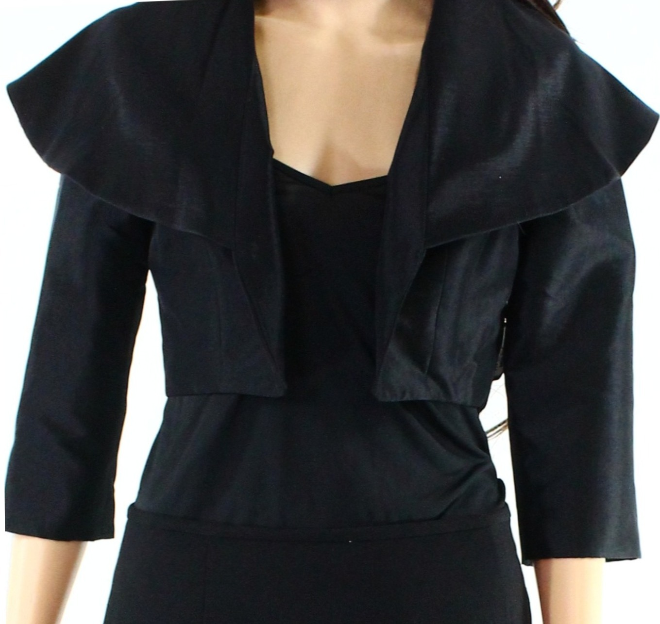 B Michael America NEW Black Womens 12 Cropped 3/4 Sleeve Bolero Jacket