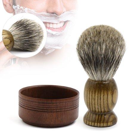 Mens Wet Shaving Cream Soap Bowl Wooden Mug Badger Hair Shaving