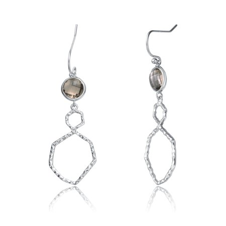 Relaveno Sterling Silver Cubic Zirconia Drop Earrings
