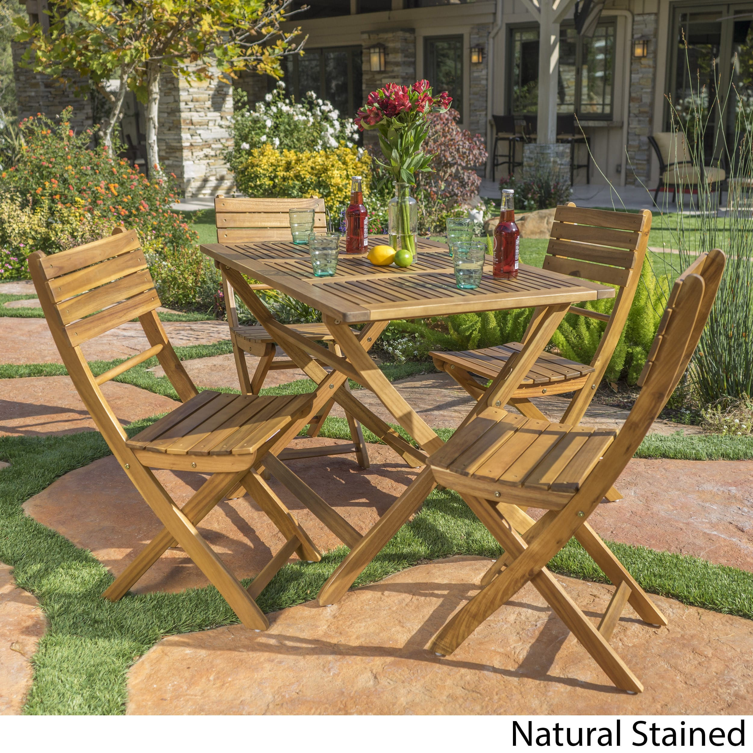 Christopher Knight Home Positano Outdoor Acacia Wood 5-piece Folding Dining Set by