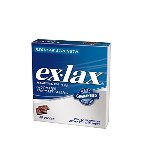 3 Packs Ex Lax Chocolate Pieces Regular Strength 48 Count Each