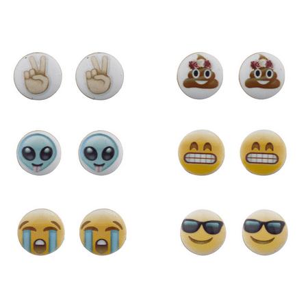 Lux Accessories Emoji Smiley Faces Alien Peace Sign Multi Earring Stud Set