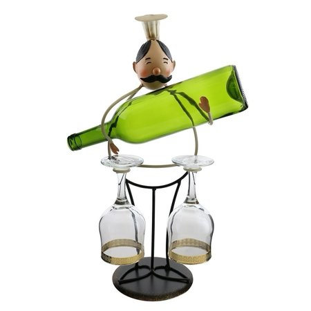Wine bottle holder by Wine Bodies, Tall chef holding a bottle and two wine glasses Chef Wine Bottle Holder