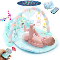 3 in1 Newborn Infan Baby Playing Mat Gym Floor Activity Piano Music Musical Light Toy Set, Light Blue/Pink/Orange