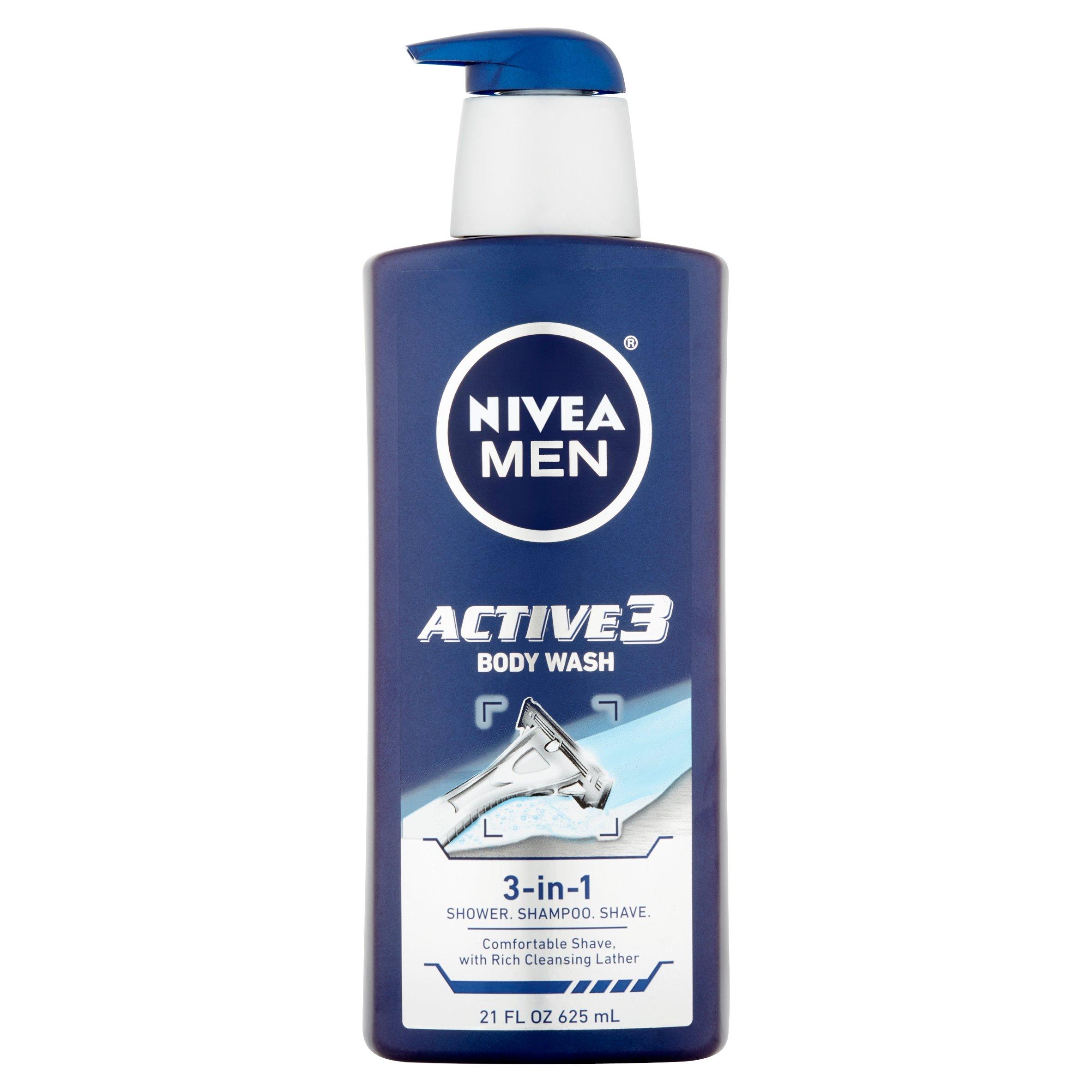 Nivea Men Active 3 Body Wash 3-in-1 Shower, Shampoo, Shave, 21 fl oz - Walmart.com