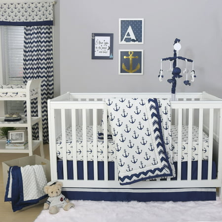 The Peanut Shell 3 Piece Baby Crib Bedding Set Navy Blue Anchor Nautical Theme
