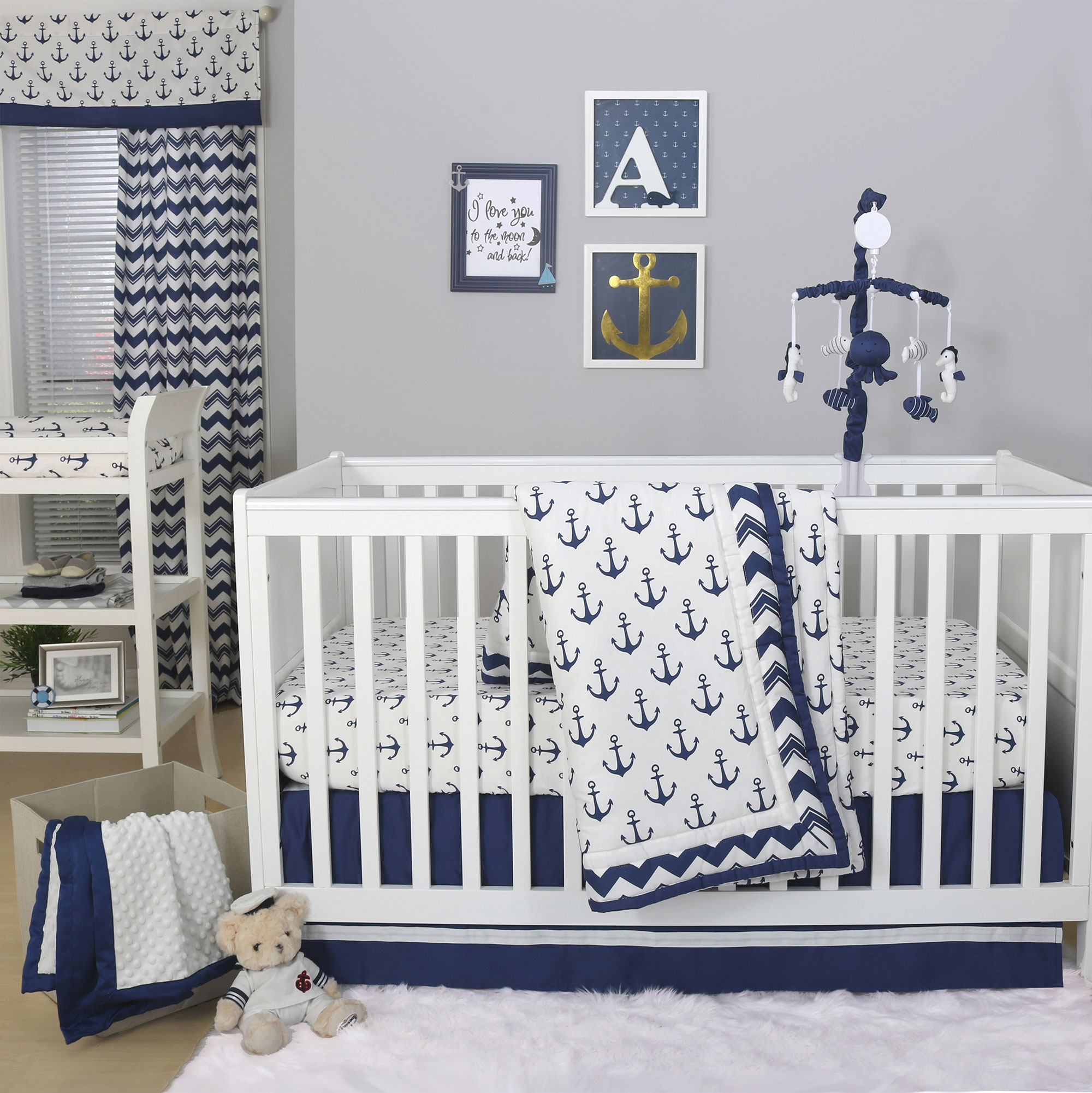 The Peanut Shell 4 Piece Baby Crib Bedding Set - Navy Blue Anchor Nautical Theme - 100% Cotton Quilt, Dust Ruffle, Fitted Sheet, and Mobile