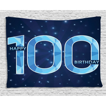 100Th Birthday Decorations Tapestry  Happy Birthday Old Grandparents Century Party Image  Wall Hanging For Bedroom Living Room Dorm Decor  60W X 40L Inches  Sky Blue And Navy Blue  By Ambesonne