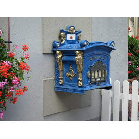 LAMINATED POSTER Mailbox Post Beautiful Blue Metal Old Decorated Poster Print 24 x 36