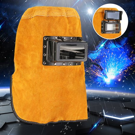 Durable Heat Resistant Breathable Welding Helmet Protection Mask with Lens, Leather Welding Mask - Heat Resistant Leather