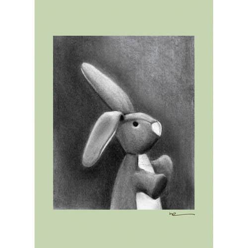 Oopsy Daisy - Charcoal Bunny-Sage Border Canvas Wall Art 10x14, Margot Curran