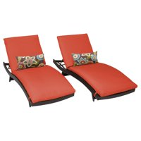 TK Classics Barbados Wicker Curved Patio Chaise Lounge - Set of 2 with Optional Side Table